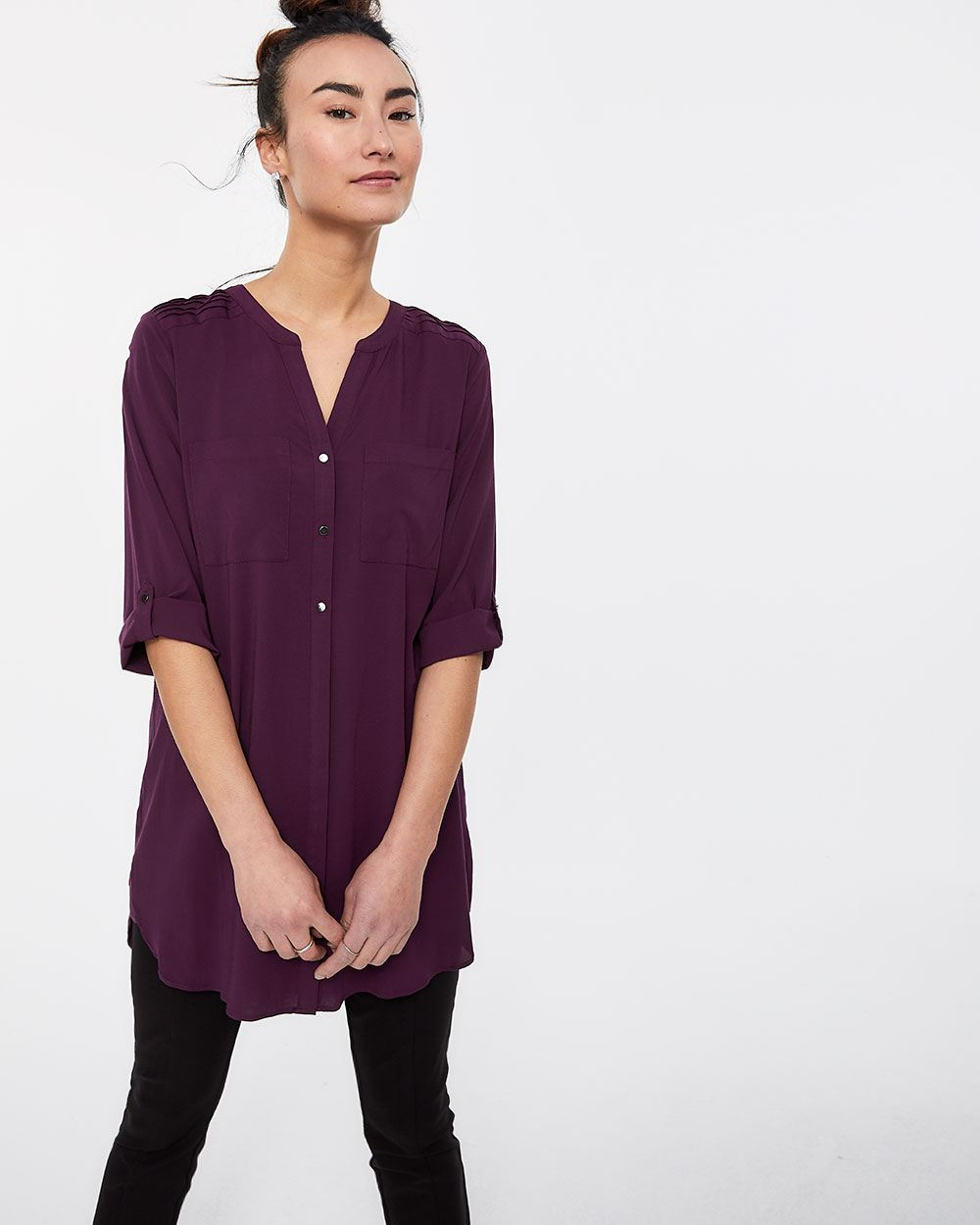 3/4 Sleeve Blouse with Pintucks