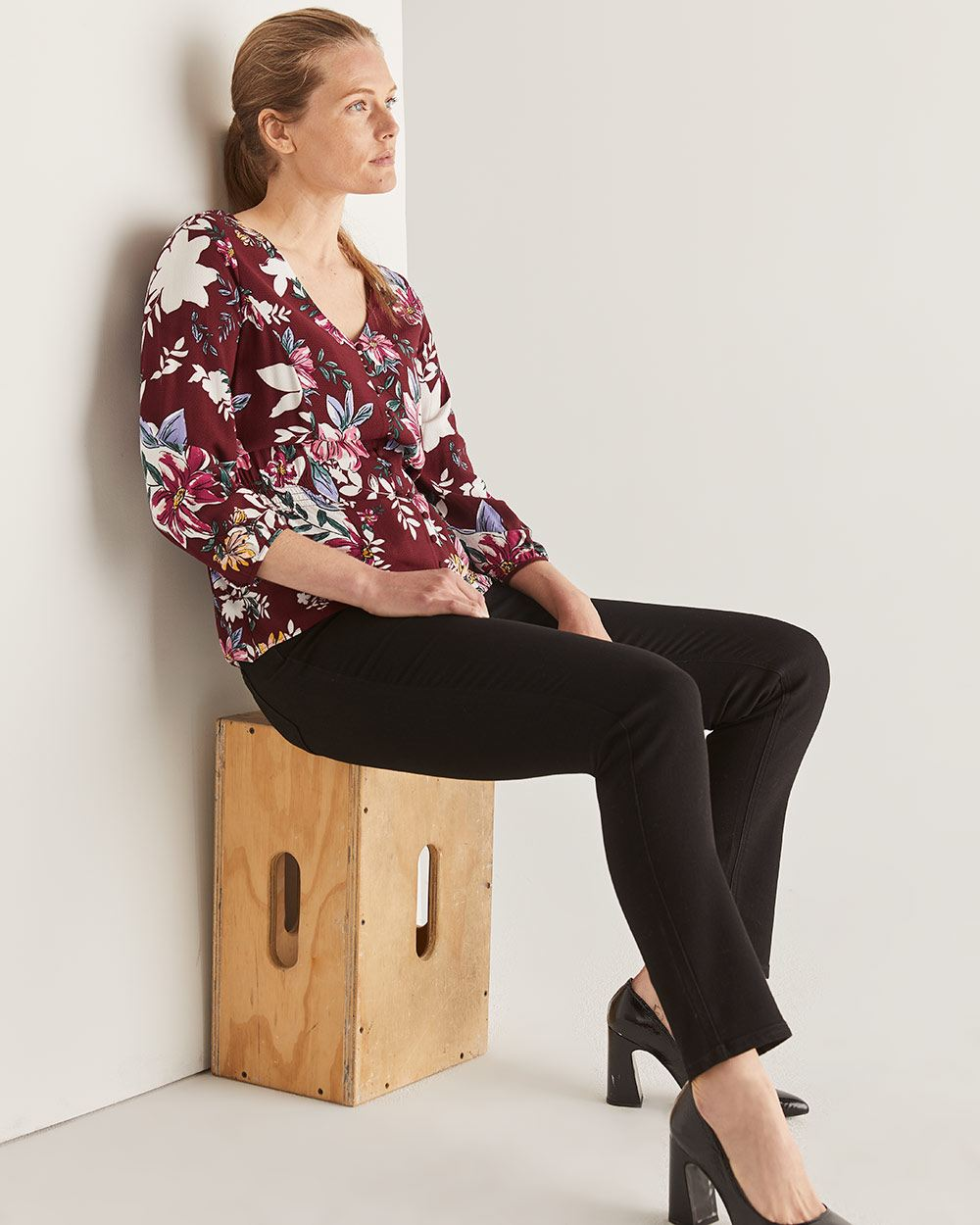 Buttoned-Down Printed Blouse with Smocked Waist