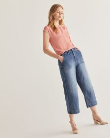 Buttoned Mix Media Tee - Petite