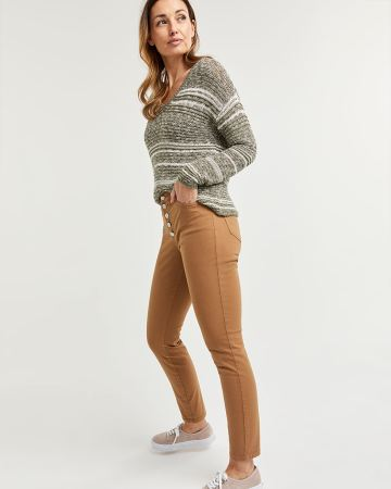 5-Button Fly Skinny Herringbone Pants