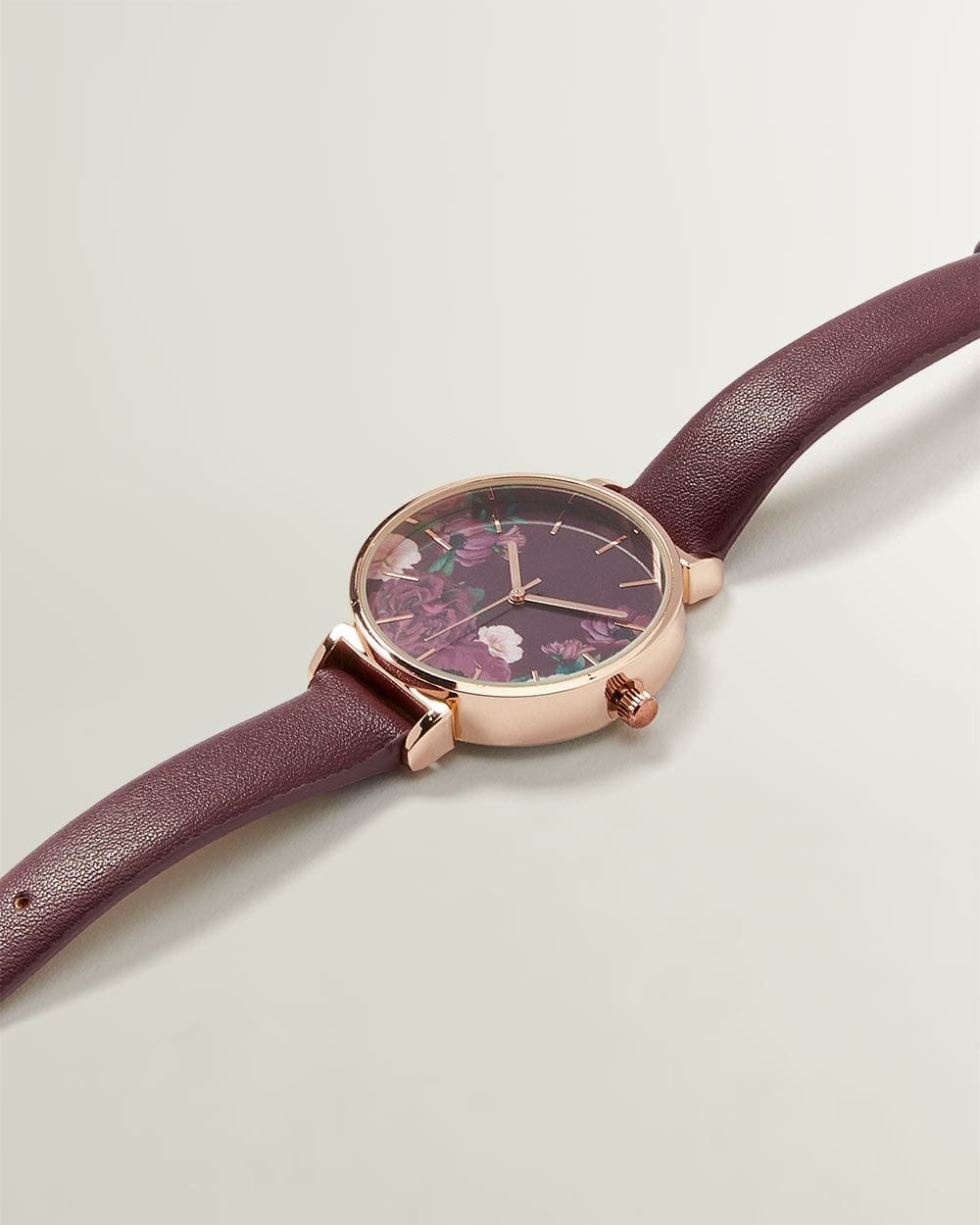 Rose Gold Watch with Floral Print
