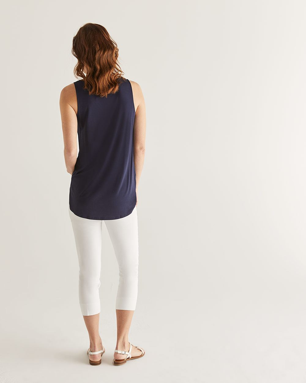 V-Neck Mix Media Tunic Tank