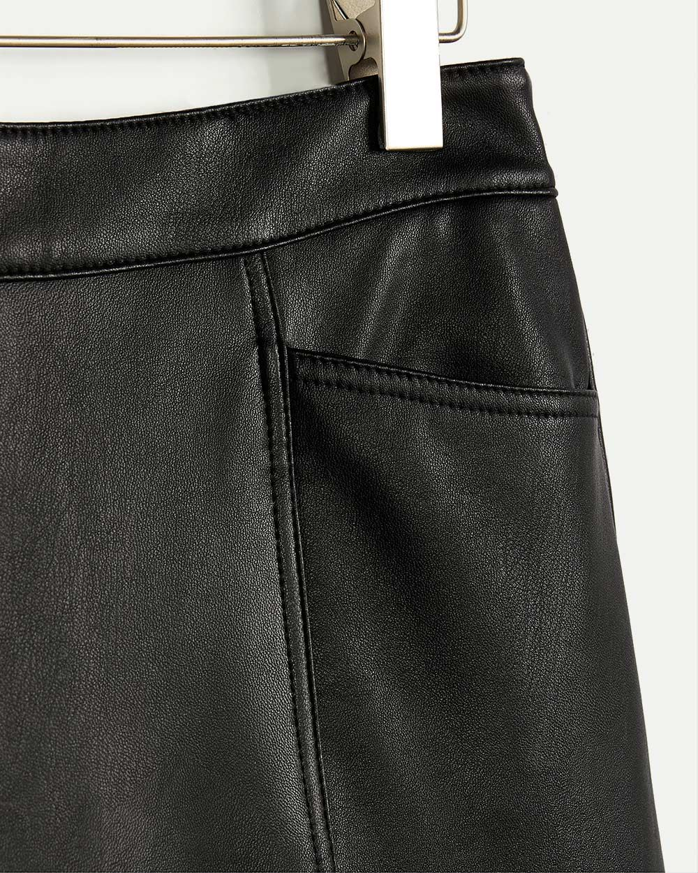 Faux Leather High Rise Skirt