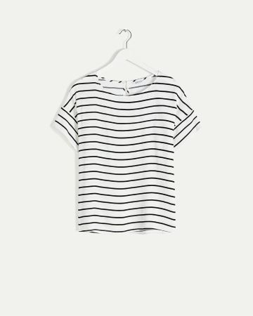 Short Sleeve Striped Blouse