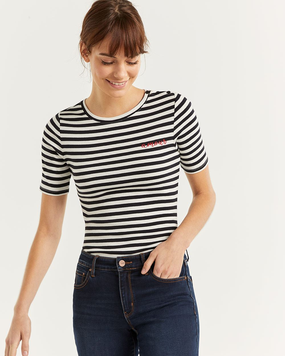Short Sleeve Striped Cotton Tee