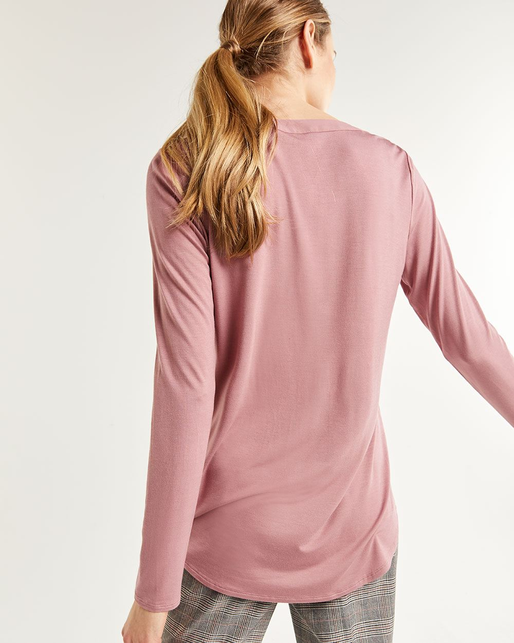 Long Sleeve Mix Media Buttoned Tee