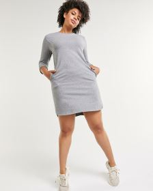3/4 Sleeve French Terry Dress with Pockets Hyba