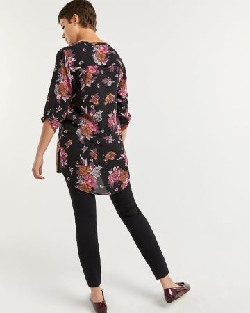 3/4 Sleeve Printed Tunic with Chest Pocket