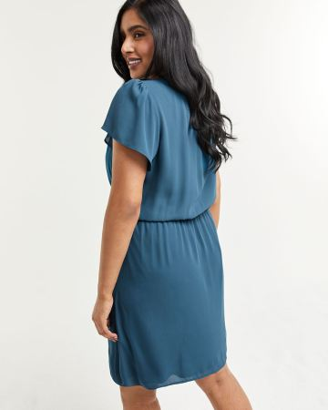 Flutter Sleeve Elastic Waist Dress with Pockets