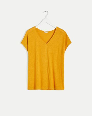Linen Blend Short Sleeve V-Neck Tee
