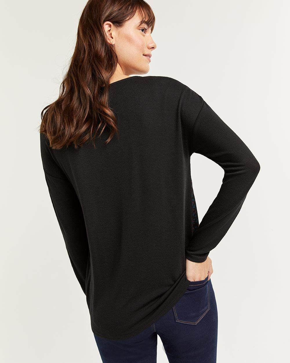 Mix Media Long Sleeve Tee with Twist Front