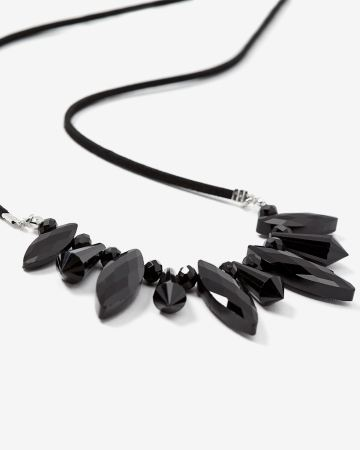 Black Faux Crystal Necklace