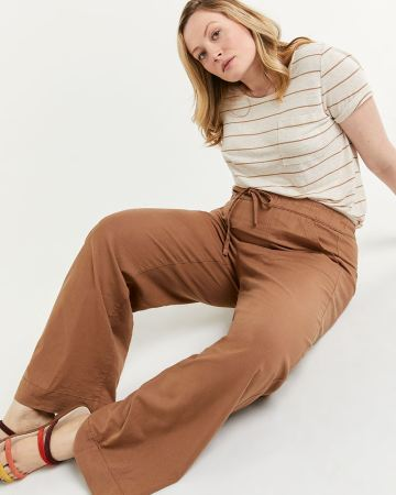 Linen-Blend Wide Pull On Pants with Drawstring