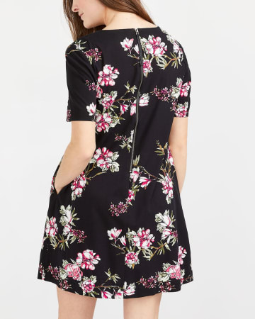 Short Sleeve Pocket Floral Dress