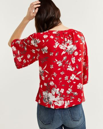 Printed Elbow Sleeve Boat Neck Blouse