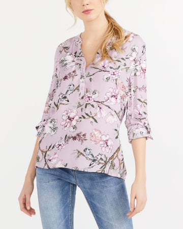 Adjustable Sleeve Printed Blouse