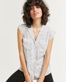 Notched Collar Cap Sleeve Printed Blouse
