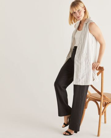 Linen-Blend Long Sleeveless Tailored Vest