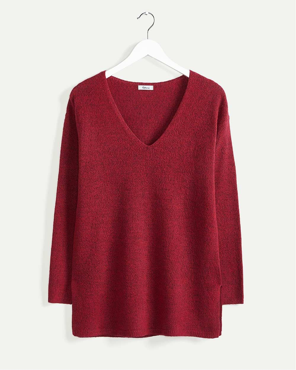 Long Sleeve V-Neck Tunic with Side Slits