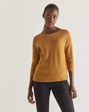 3/4 Sleeve Boat Neck Sweater