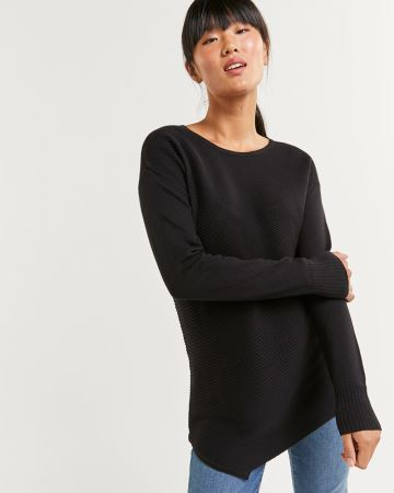 Long Sleeve Asymmetrical Hem Sweater
