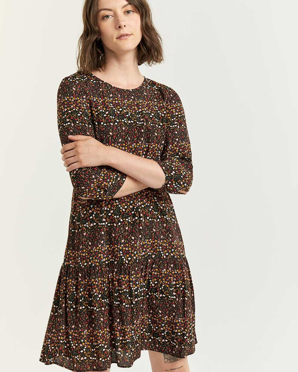 Printed Shift Dress with Drop Flounce - Petite