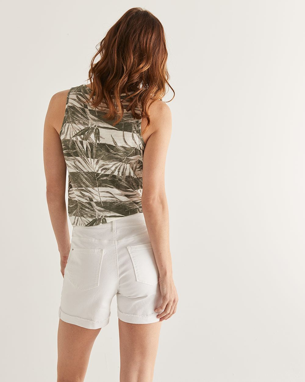 Frayed Hem White Jean Shorts
