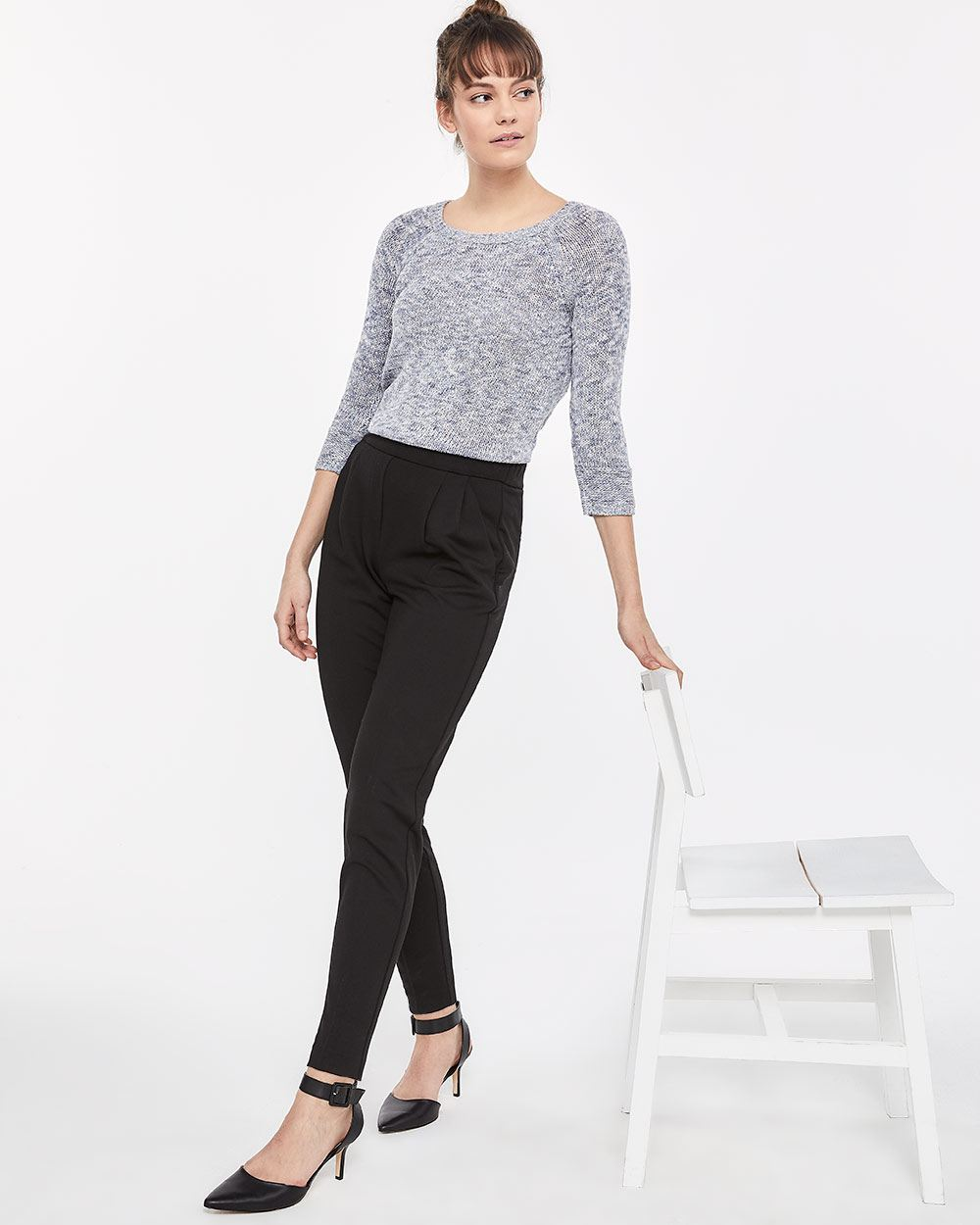 Pleated Slim Leg Pants