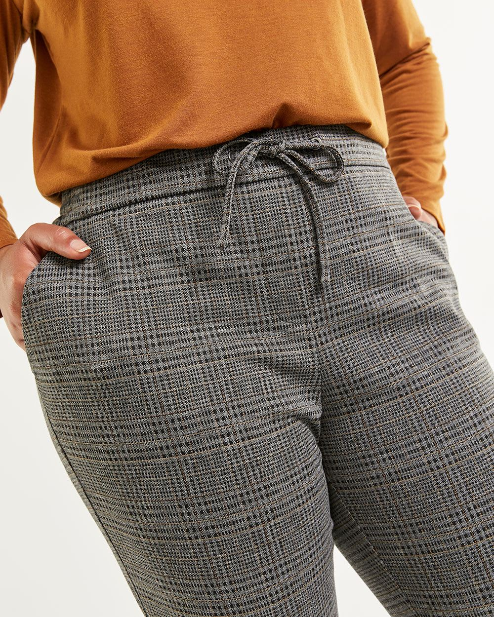 Stretch Plaid Jogger with Drawstring