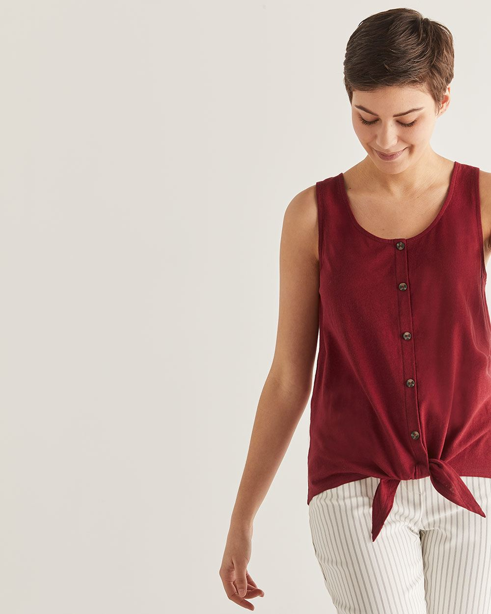 Cotton & Linen-Blend Tank Top with Buttons - Petite