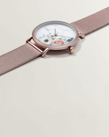 Floral Rose Gold Mesh Watch