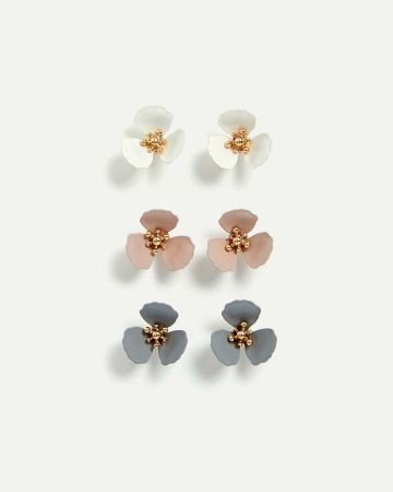 3-Pack Flower Post Earrings