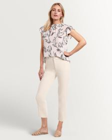 Floral Print Elastic And Frill Mock Neck Blouse