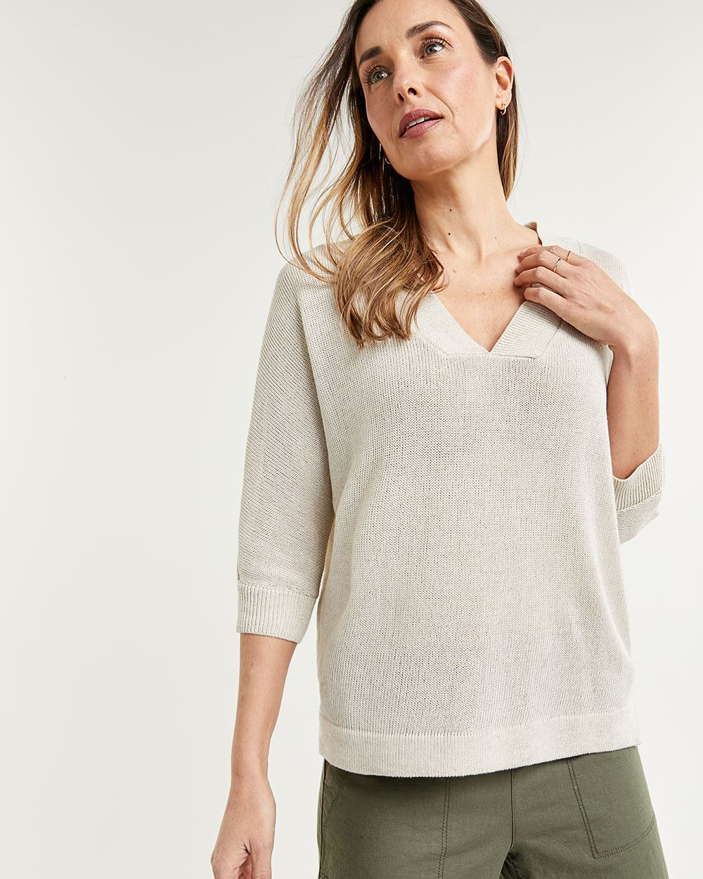 Linen Blend Wide V-Neck Sweater