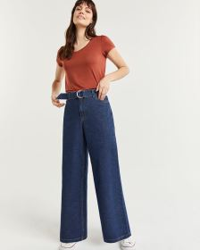 High Rise Wide Leg Jeans with Sash