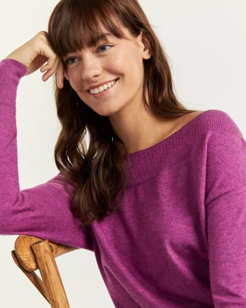Boat Neck Ribbed Detail Sweater