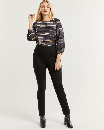 High Rise Black Denim Pull On Jeggings