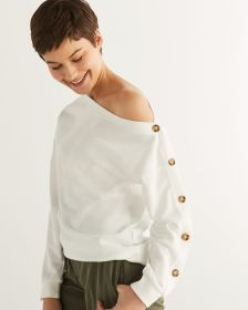 One-Shoulder Sweatshirt with Buttoned Sleeve