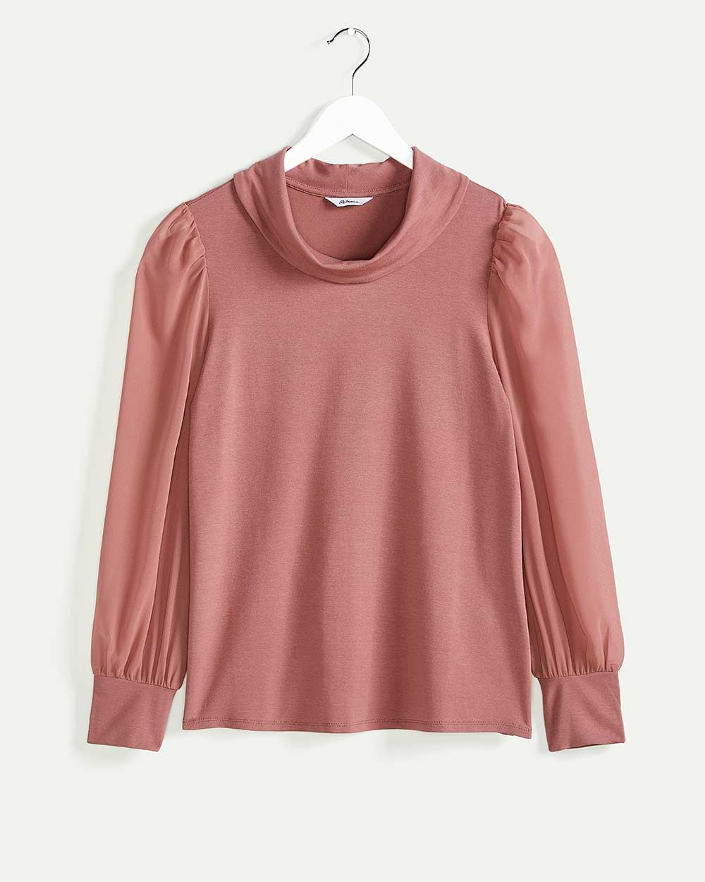 Long Puffed Sleeve Cowl Neck Top