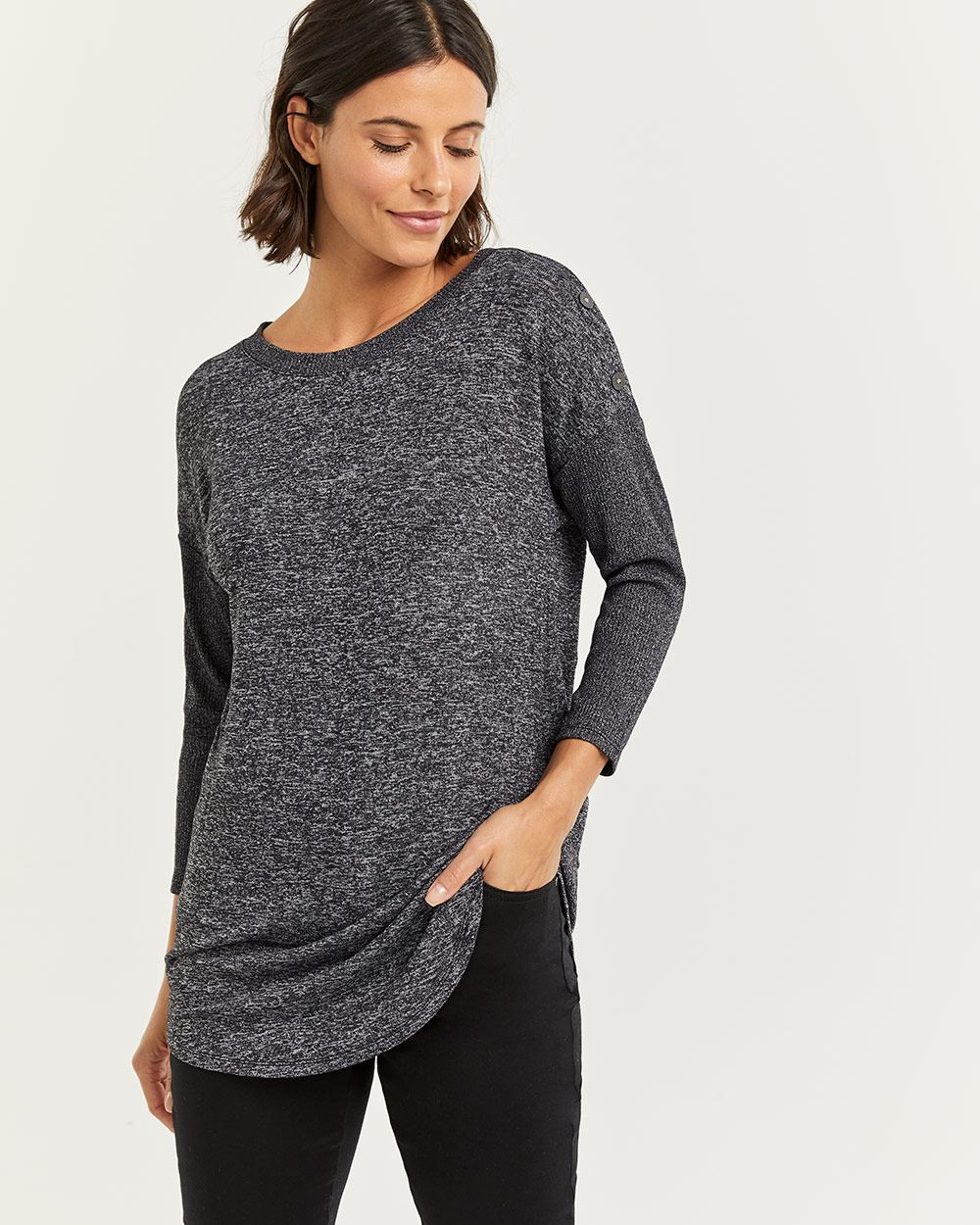 3/4 Sleeve Tee with Buttons at Shoulders - Petite