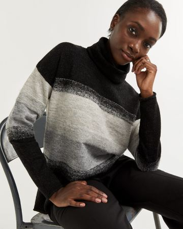 Brushed Pattern Cowl Neck Sweater