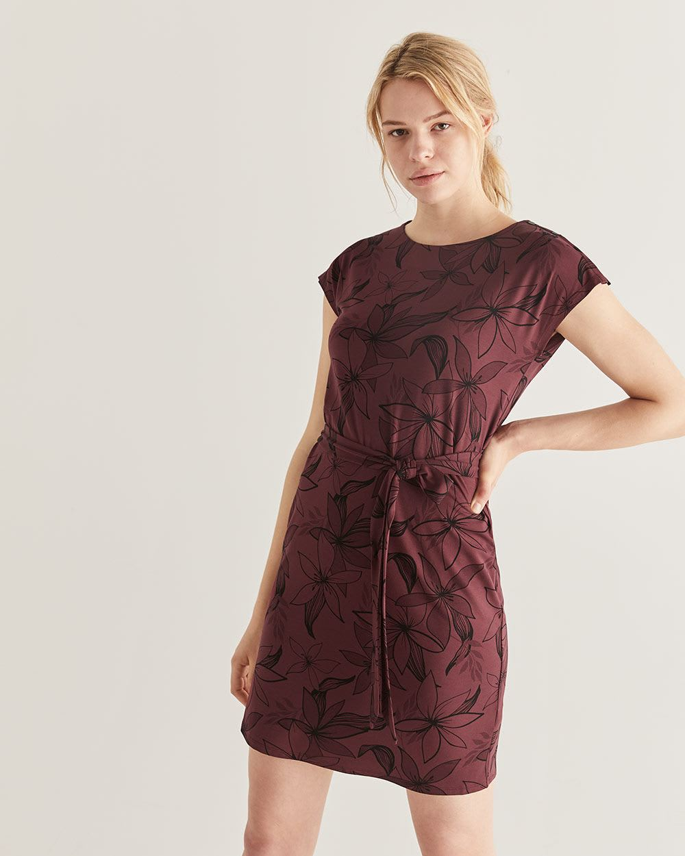 Self-Belted Printed Shift Dress
