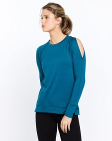 Hyba Cold-Shoulder and Topstitch Top