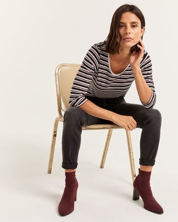 R Essentials 3/4 Sleeve Cotton-Blend Striped Tee