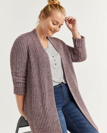 Long Sleeve Ribbed Open Cardigan