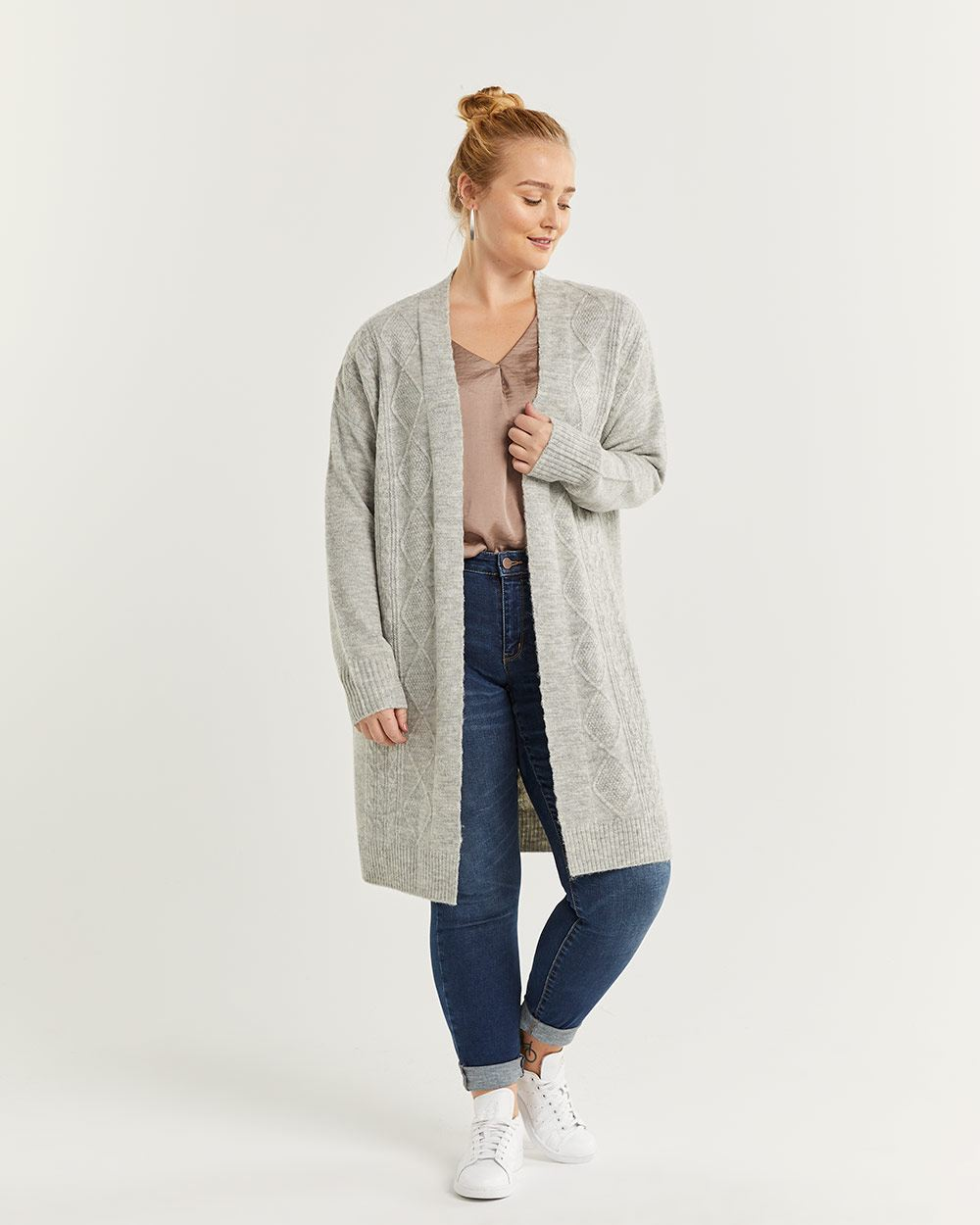 Open Cardigan with Cable Stitches