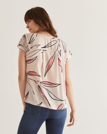 Printed Boat Neck Blouse