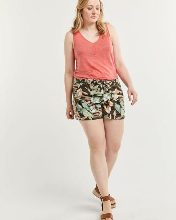 Linen-Blend Pull On Printed Shorts