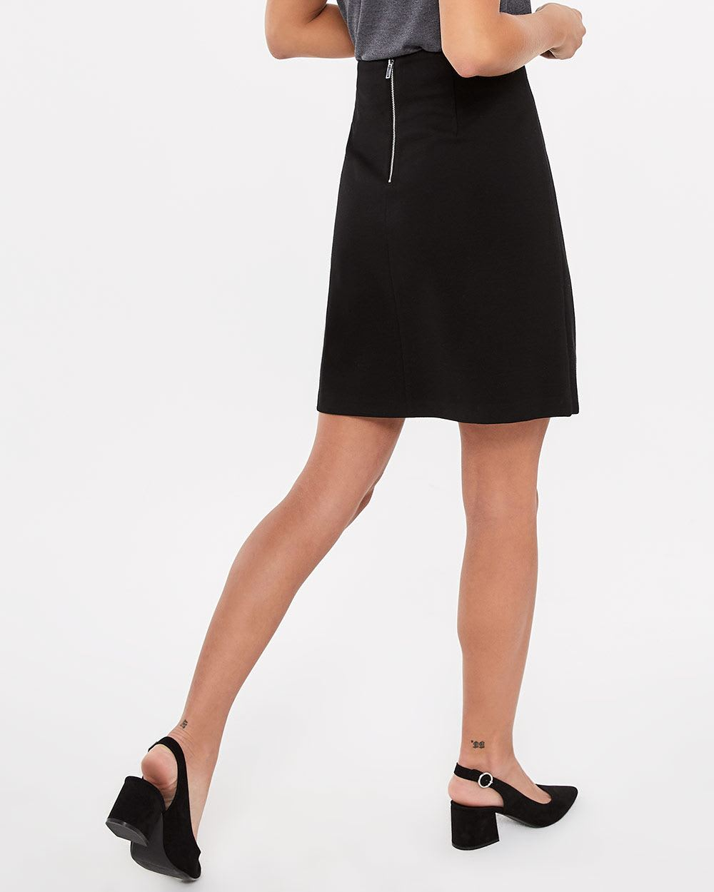 Faux Wrap Solid Skirt