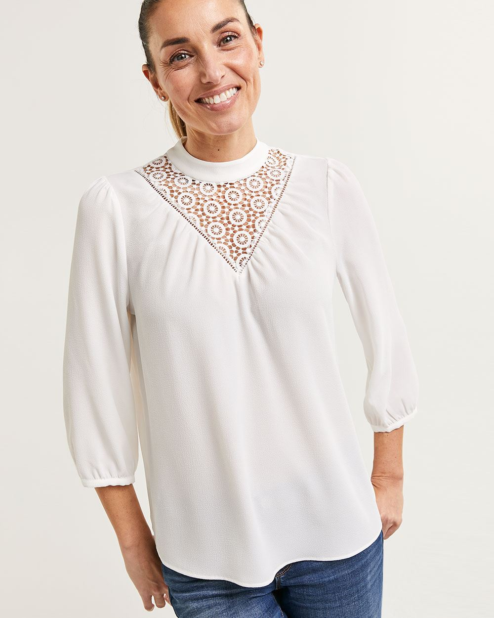 3/4 Sleeve Mock Neck Blouse with Lace Insert
